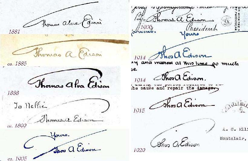 Edison Autograph Forgeries Signatures Of Famous Personalities